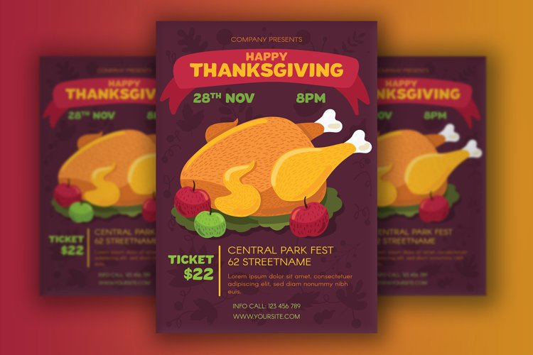Thanksgiving Poster With Turkey