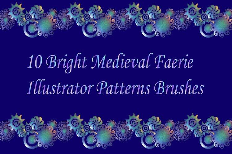 10 Bright Medieval Faerie Illustrator Patterns Brushes