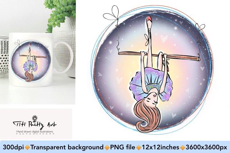 Ballerina Sublimation PNG, Princess Blue Sky Bundle example image 1