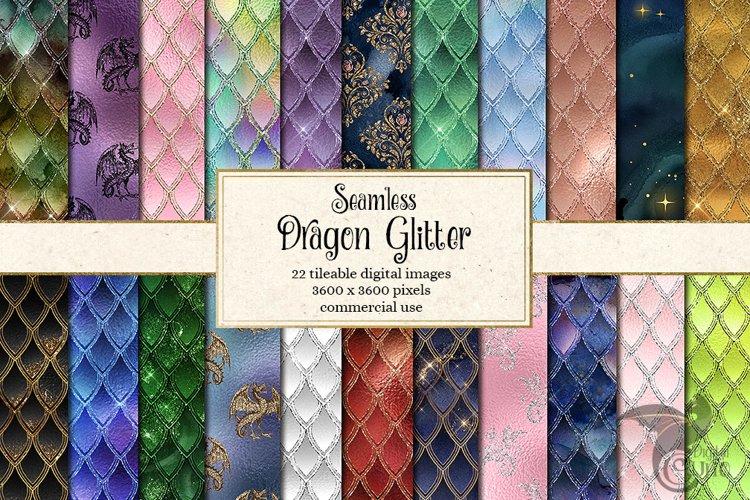Dragon Glitter Digital Paper example image 1