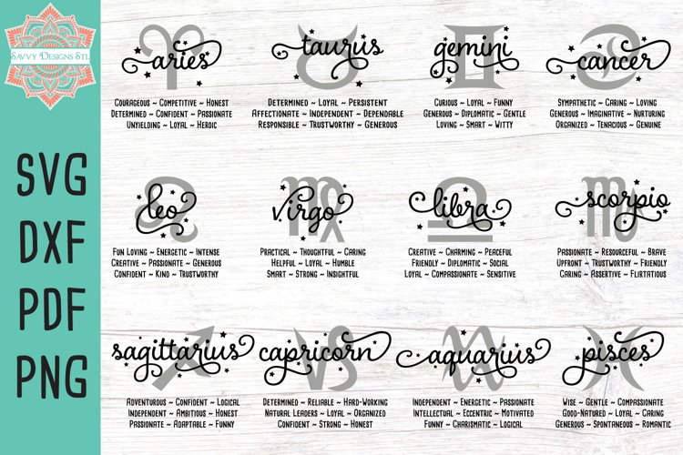 Zodiac Traits Bundle Designs Cut File SVG DXF PDF