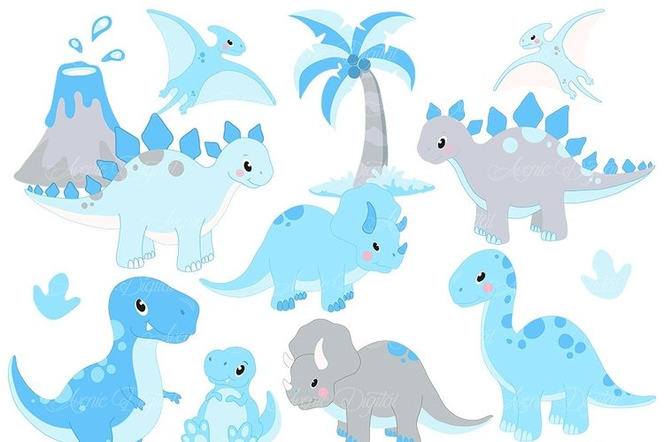 Cute Blue Dinosaur Clipart and Vectors