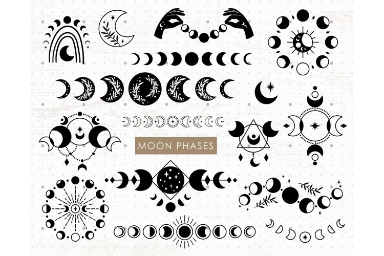 Moon Phases SVG files, Celestial Svg Png clipart set