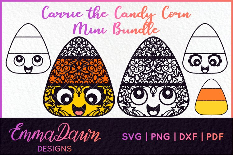 CARRIE THE CANDY CORN SVG MINI BUNDLE ZENTANGLE MANDALA example image 1