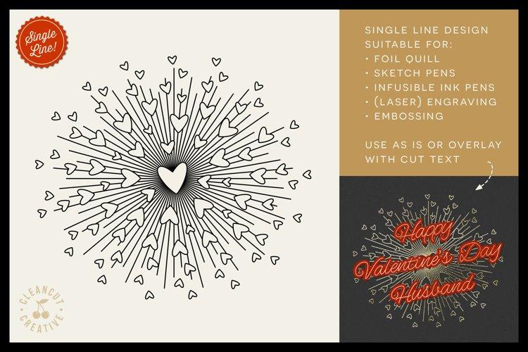 Foil Quill HEART BURST single line sketch design SVG file example image 1