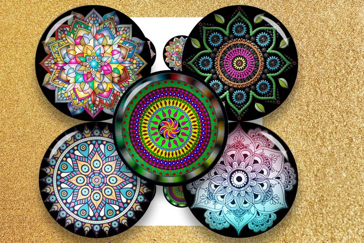 Mandala Ornaments, bottlecap images, jewelry,black friday example image 1