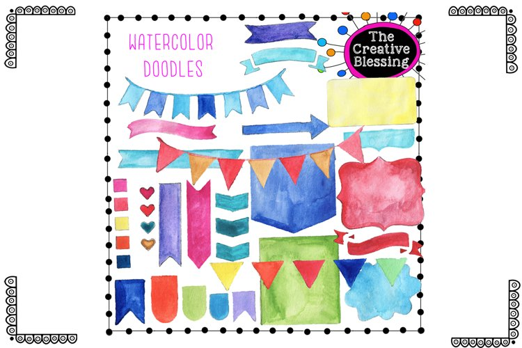 Watercolor Doodle Bunting and Flags