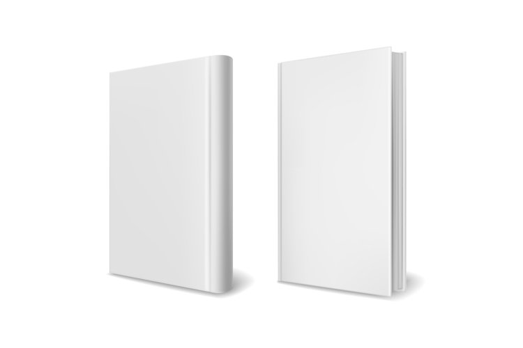 Realistic book cover mockups. Empty white perspective hardco