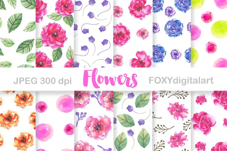 Digital paper watercolor flowers springtime wedding party example image 1