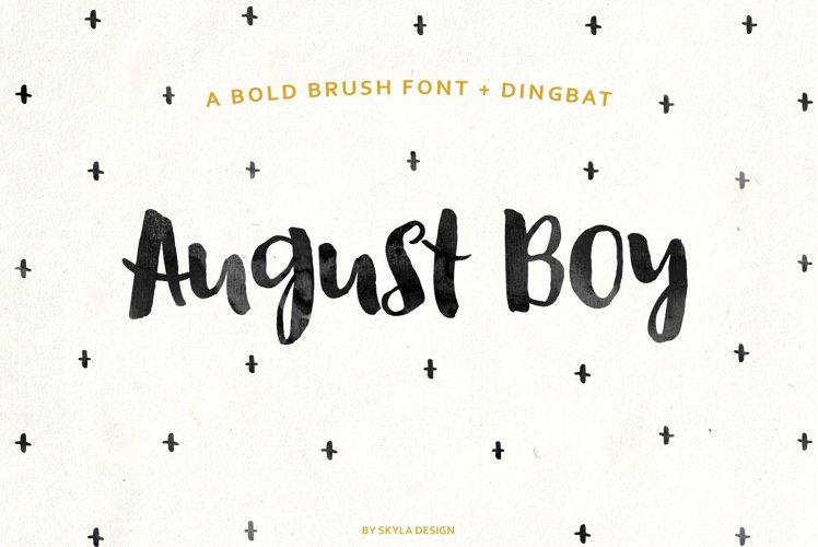 August Boy - Modern, bold, brush font  dingbat clipart example image 1