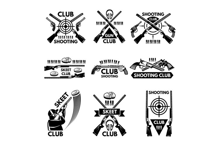 Labels set for shooting club. Illustrations of weapons, bull example image 1