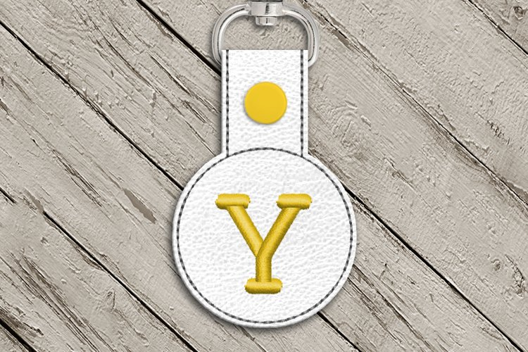 Letter Y Round ITH Key Fob In the Hoop Embroidery Design