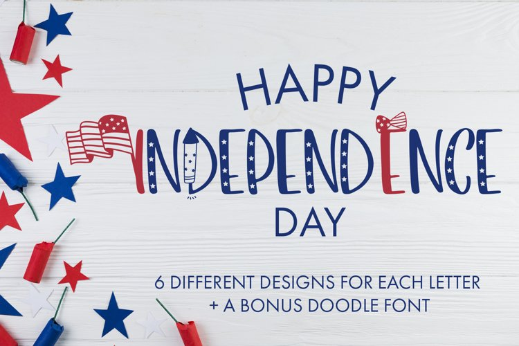 Happy Independence Day - 6 Designs With Bonus Doodles example image 1