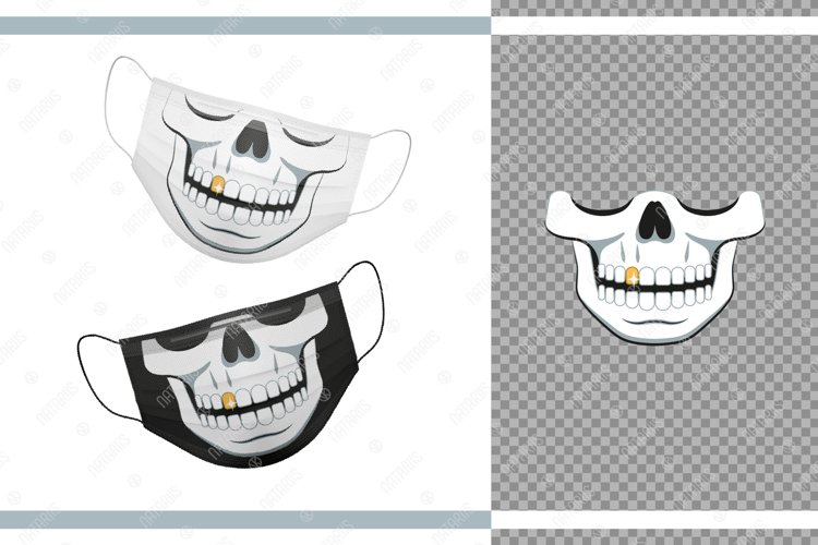 Funny skull design with Gold Tooth for protective face mask. example image 1