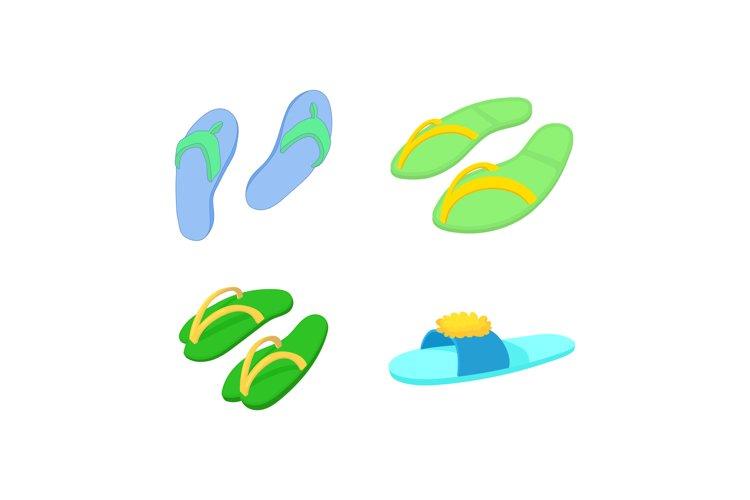 Slippers icon set, cartoon style example image 1