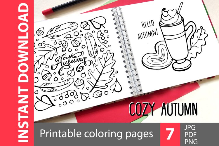 Cozy autumn - 7 coloring pages example image 1