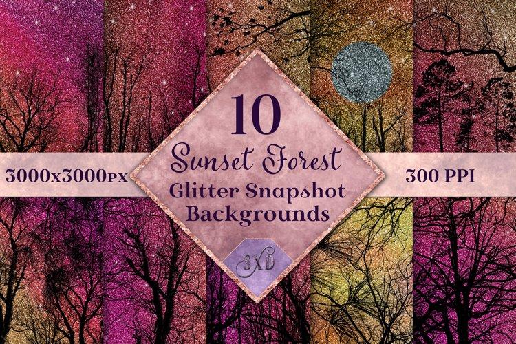 Sunset Forest Glitter Snapshot Backgrounds - 10 Image Set example image 1