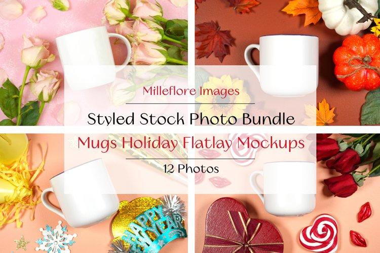12 Coffee Mugs Holiday Mockups Styled Stock Photo Bundle