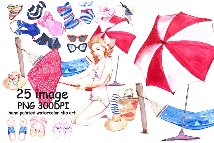 Summer Watercolor Clipart example image 1