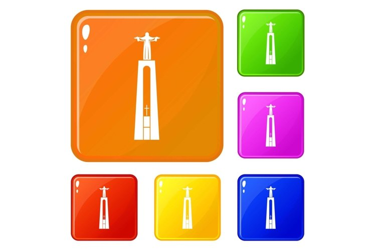 Christ statue icons set vector color example image 1