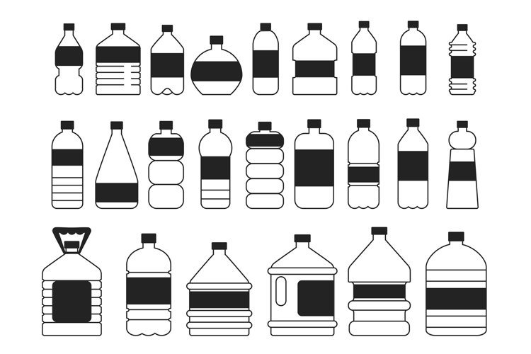 Monochrome pictures set of plastic bottles. Symbols of packa example image 1