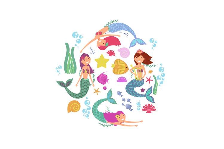 Cartoon swimming mermaids and sea underwater animals vector example image 1