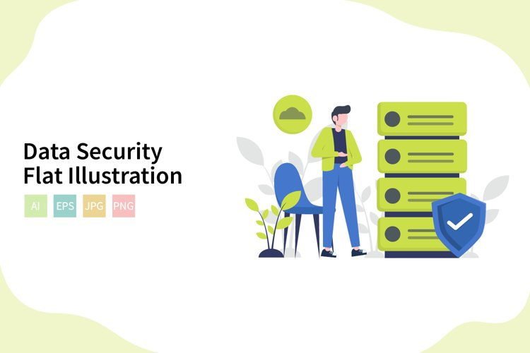 Data Security Flat Vector Illustration example image 1