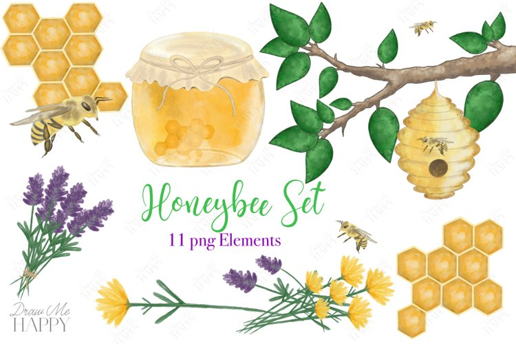 Bee Clipart, Bee Hive Clipart, Honeybee, Honeycomb clipart example image 1