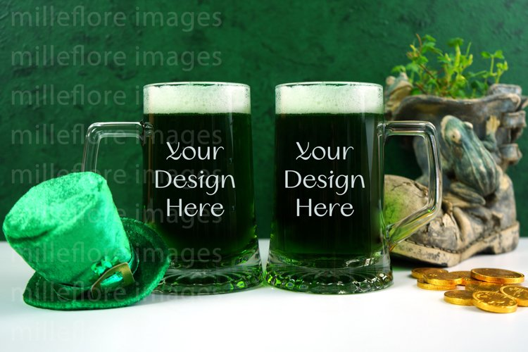 St Patricks Day 2 Green Beer Steins SVG Craft Mockup Photo