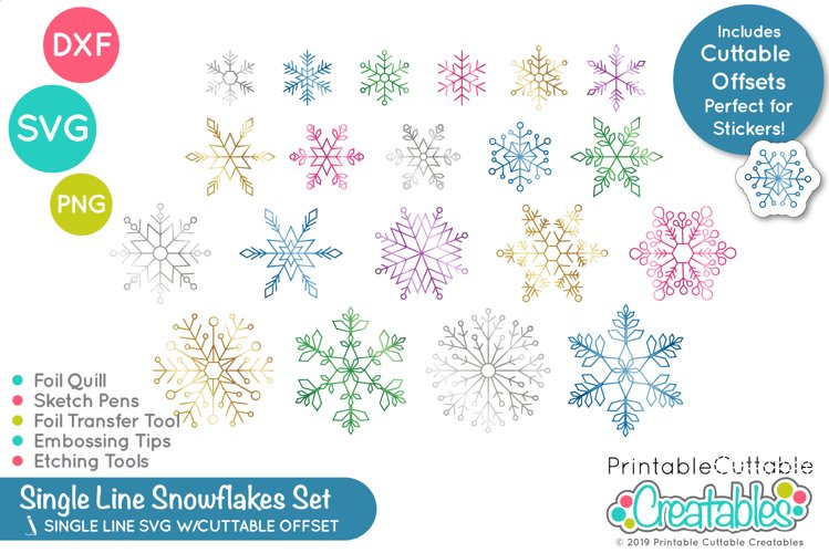 20 Foil Quill / Single Line SVG Snowflakes Set example image 1