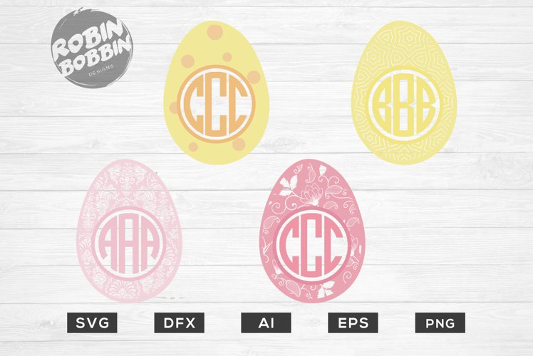 Easter Monogram Frames Eggs SVG - Happy Easter SVG Files example image 1