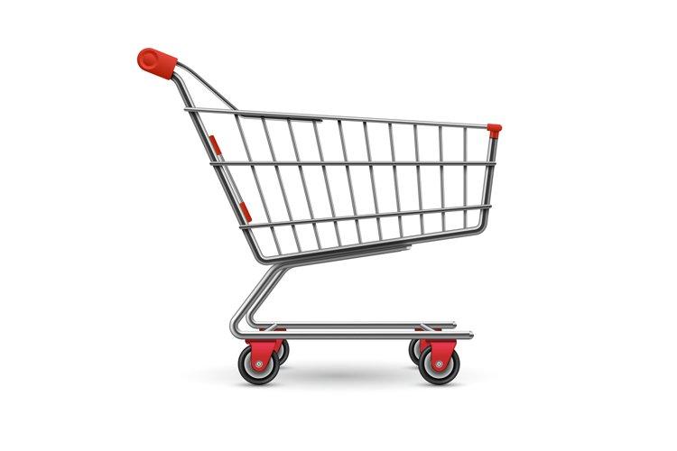 Realistic empty supermarket shopping cart vector illustratio