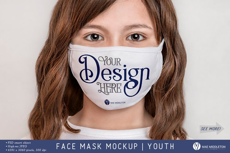 Face Mask Mockup, Youth | psd & jpg example image 1