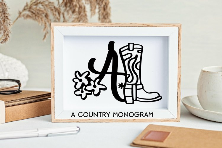Web Font Western Country Monogram Letter Font example image 1