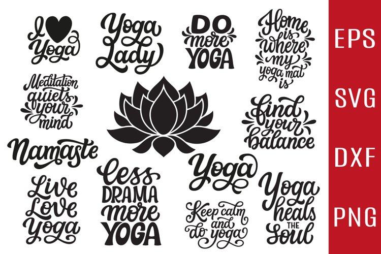 12 Yoga quotes SVG Bundle, lotus flower SVG example image 1