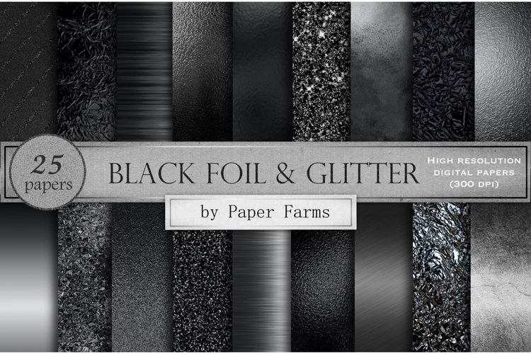Black foil and glitter textures example image 1