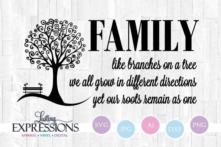 Family Tree Quote // Like Branches on a Tree // Tree Clipart