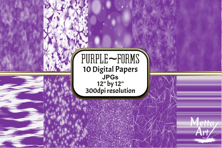 Purple Forms - 10 Digital Papers/Backgrounds example image 1