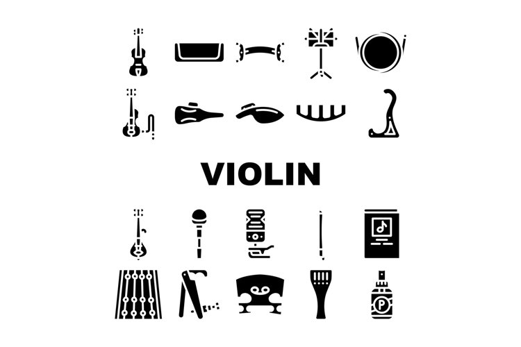 Violin String Musical Instrument Icons Set Vector example image 1