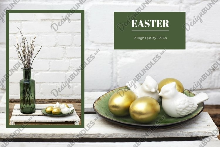 Easter bundle with golden eggs on bricked wall