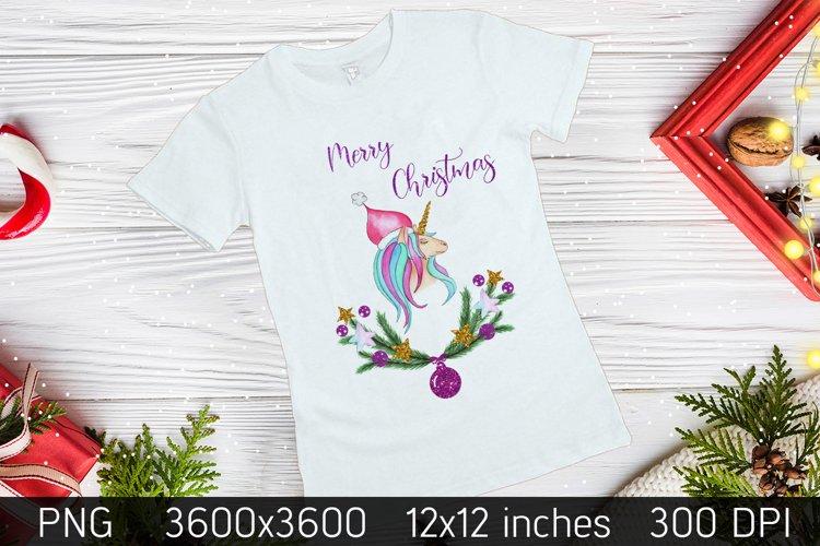 Merry Christmas unicorn Sublimation,Unicorn Christmas Card example image 1