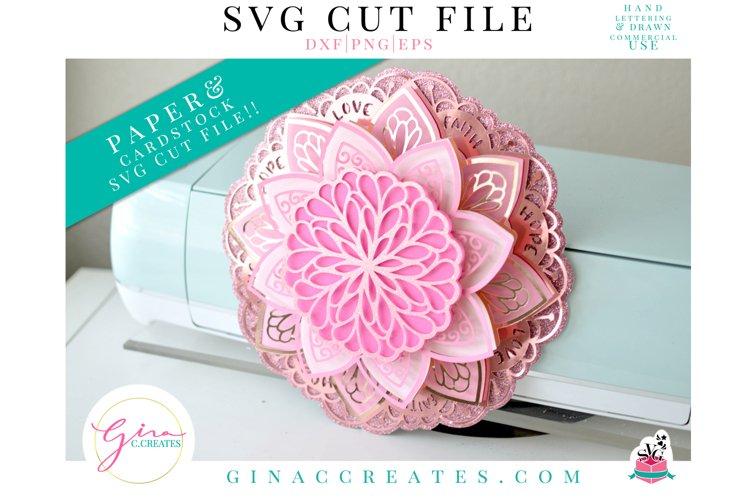 3D Layered LOVE, HOPE, FAITH Mandala SVG Cut File