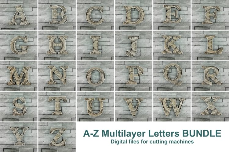 A-Z Alphabet Letters, Layered Letters SVG, Cut File Mandala