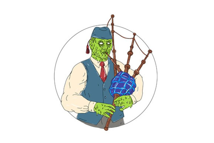 Zombie Piper Playing Bagpipes Grime Art example image 1