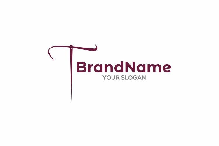 T Needle Thread Logo Design Vector example image 1