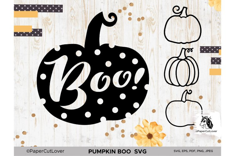 Pumpkin SVG Bundle Halloween Polka Dot Pumpkin Boo Svg example image 1