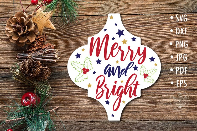 Arabesque Tile Merry and bright SVG lettering design example image 1