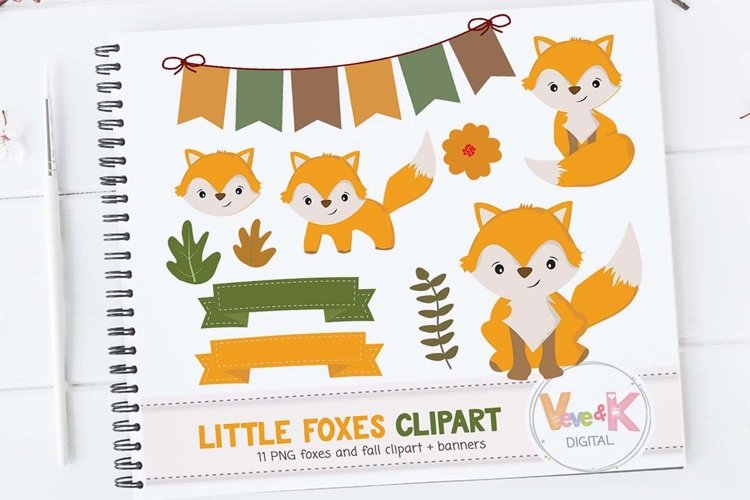 Fox Clip Art, Cute Fox Clipart, Little Foxes Clipart, Forest Creatures, Forest Critters, Woodland Animals Clipart, Foxes,