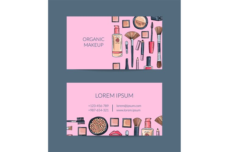 Vector business card template for beauty brand or makeup example image 1