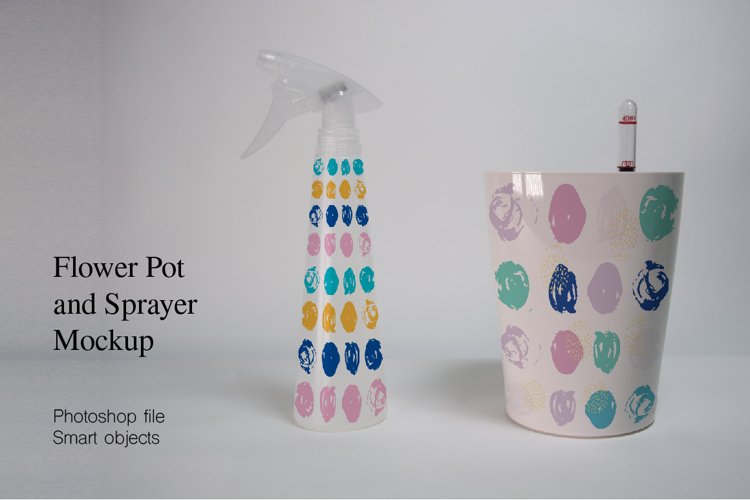 Flower Pot and Sprayer Mockup. PSD filewith smart objects. example image 1